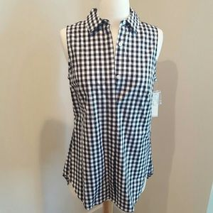 NWT black and white check top